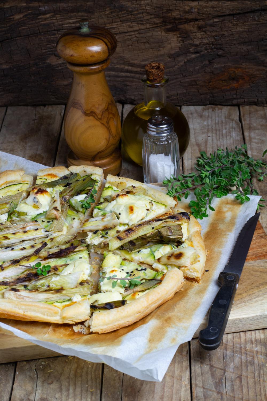 Sfoglia con cipollotti e zucchine
