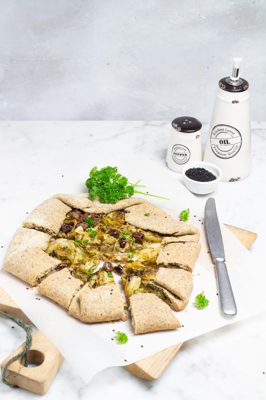 galette integrale con scarola e olive