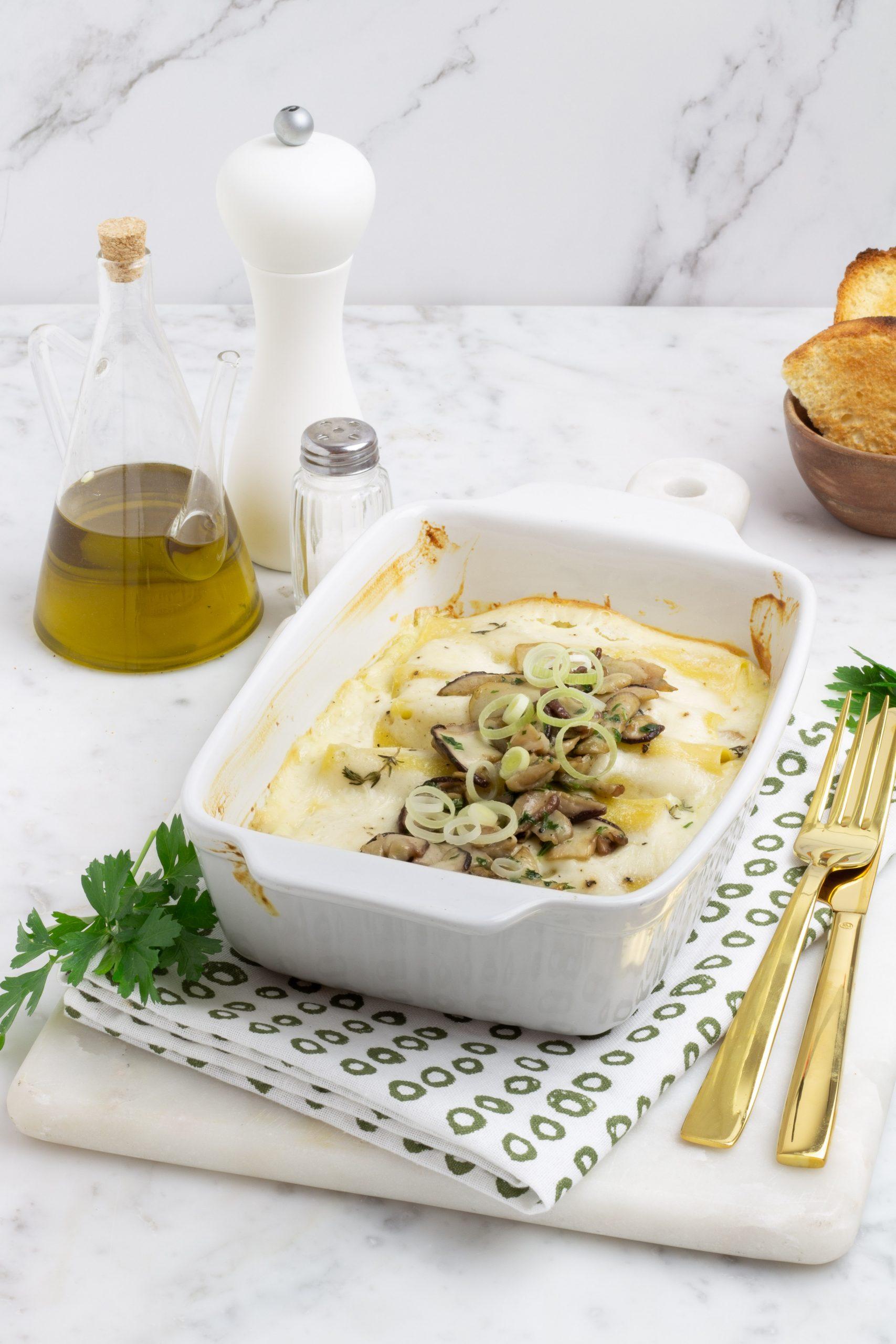 Cannelloni con funghi porcini e porri